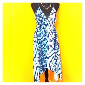 Tie die dress asymmetrical design sz M